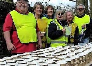 Friendly volunteers at water station